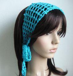 Gypsy style Crochet Hair band / short scarf in Cyan Color