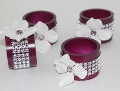 Bling Napkin Rings Set of 6 Weddings Parties Birthday Bridal Showers Purple and Lavender by SprinkleandSparkle on Etsy https://www.etsy.com/listing/247647153/bling-napkin-rings-set-of-6-weddings