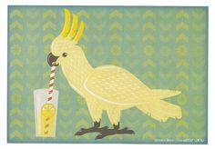 Cockatoo Lemonade - Limited Edition Digital Parrot Art Print 8.5x11. $10.00, via Etsy.