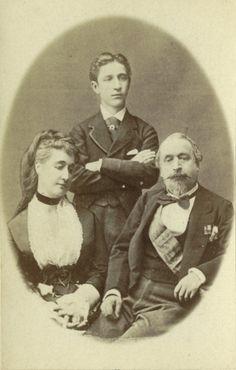 1872.IN ESILIO IN GRAN BRETAGNA NAPOLEONE II , L'IMPERATRICE EUGENIA E IL PRINCIPE EUGENIO LUIGI