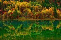 Autumn Reflection of the Mirror Lake, Jiuzhaigou Valley 秋臨九寨沟--The colorful reflection mirrored on clear water as the autumn arrived to Jiuzhaigou Valley.