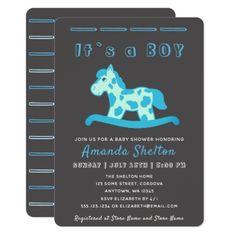 Blue Rocking Horse Baby Boy Shower Invitation - horse animal horses riding freedom