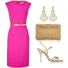Conservative dress in a bold, feminine color with timeless gold accessories. Invest in your wardrobe.