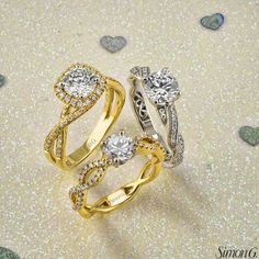 Do you prefer white or yellow gold for an engagement ring? These are from one of our favorite designers, Simon G.!