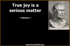 True joy is a serious matter - Seneca Quotes - StatusMind.com