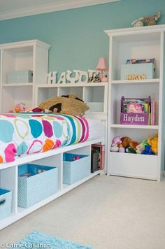 You can never have enough storage in a child's rooms tubs and shelves are a great way to keep the room organised