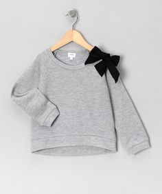 Take a look at this Gray Bow Sweatshirt - Toddler & Girls by Aioty on #zulily today!