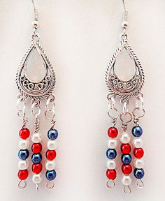 0966+ - Patriotic earrings, patriotic jewelry, Memorial Day. Flag Day earrings, Independence Day, 4th of July earrings, red white blue by EarringsBraceletsEtc on Etsy