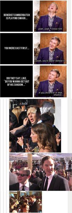 Martin Freeman on Benedict Cumberbatch Sherlock Meme, Sherlock John, Sherlock Holmes, Jim Moriarty, Sherlock Quotes, Watson Sherlock, Sherlock Comic, Johnlock, Mrs Hudson