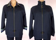 ST JOHN SPORT By MARIE GRAY Jacket Size M Medium Blue Yachting Casual Blazer #StJohnSport #BasicJacket