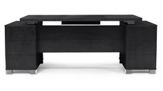 Ford Executive Modern Desk with Filing Cabinets - Black Oak Finish | Zuri Furniture #ZuriFurniture