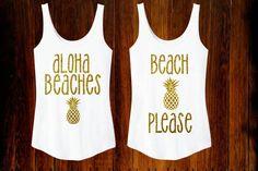 Aloha Beaches OR Beach Please Sparkly Glitter Gold Tank Top Summer Time Womens Shirt Hawaii Tropical Beach Glitter Pineapple (21.95 USD) by TheBizziB