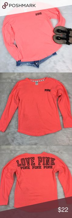 PINK Victoria Secret Sweatshirt PINK by Victoria Secret sweatshirt. Size small. Approximate measurements are 26' long & 40' bust. GUC with wear. No major flaws. Just has a dark tin to fabric. See picture above. ❌No trades ❌ Modeling ❌No PayPal or off Posh transactions ❤️ I Bundles ❤️Reasonable Offers PLEASE ❤️ Bundle & SAVE❗️❗️ PINK Victoria's Secret Sweaters Crew & Scoop Necks