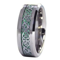 Celtic Ring | Tungsten Emerald Green Celtic Dragon Ring | Tungsten Ring #FantasyForgeJewelry #Celtic #Jewelry