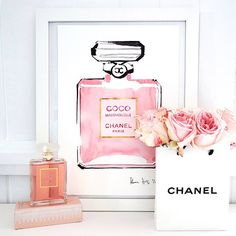 Love this Chanel Coco mademoiselle print by Kerrie Hess Coco Chanel Mademoiselle, Megan Hess, Chanel Decoration, Kerrie Hess, Parfum Chanel, Just Girly Things, Beauty Room, My New Room, Pretty In Pink