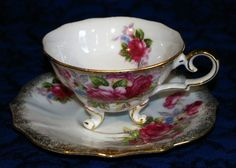 Vintage Footed & Scalloped Iridescent Tea Cup & Saucer Pink Roses with Gold Trim