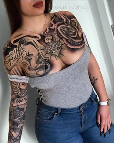 best=Girl Tattoos Chest Pictures Cute Girl Tattoos Chest , We carry the best designer prom dresses! Tattoos Realistic, Fake Tattoos, Hot Tattoos, Body Art Tattoos, Tribal Tattoos, Sleeve Tattoos, Tatoos, Tattoo Life, Payasa Tattoo