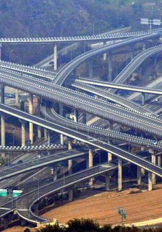 A great effort to ease traffic. A multi-level overpass in southwest China's Chongqing Municipality.