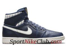 brand new 9c741 212d7 Homme Air Jordan 1 Retro Jeter Chaussures Nike Jordan Pas Cher Bleu Blanc  715854-402
