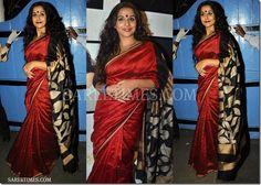 Vidya balan in a beautiful red and black saree Manish Malhotra Saree, Kareena Kapoor Saree, Maroon Saree, Indian Bridal Sarees, Crepe Saree, Asian Clothes, Sari Blouse Designs, Vidya Balan, Saree Trends