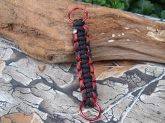 Paracord Lanyard Keychain  Red and Black  Cobra by ACORDING2MACEY