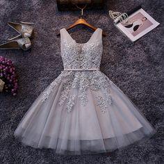Tienda Online En Stock elegante Tulle V cuello de fiesta apliques de encaje a corto vestidos fiesta 2016 por debajo de 50 $ para adolescentes vestidos de graduación | Aliexpress móvil