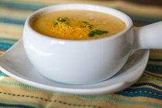 Carrie's Experimental Kitchen: Baked Potato Soup (Low Fat) | 9 ww pts+ per 2 cups (4 servings) | No onions for IC | Calculated using reduced fat cheddar and chicken broth