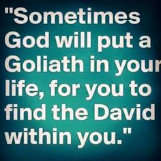 """David told the Philistine, """"You come to me with sword and spear and javelin, but I come to you in the name of the LORD of Armies, the God of the army of Israel, whom you have insulted.  FACE EVERY GIANT IN THE NAME OF THE LORD, THE EVERLASTING GOD!!!! Author Felicia Emanuel - Google+"""