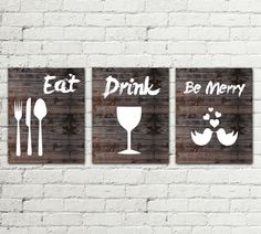 Set of 3 PRINTS Kitchen Printable Poster, Illustration Graphic Design Print, Eat Drink be Merry, Home Decor wall art Gift, Instant Download by MirDesigns on Etsy