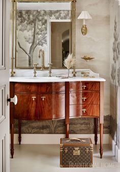 Room by Michelle Smith One of the places in the home my clients are the most apt to really venture out of their comfort zone is the powder room. It's scary to make a big bet on a larger room, so the powder room is a place people seem to go bigger… Design Furniture, Decor Interior Design, Interior Decorating, Luxury Interior, Bad Inspiration, Bathroom Inspiration, Bathroom Ideas, Bathroom Designs, Traditional Bathroom