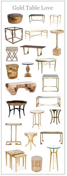 Gold coffee, end, and console tables