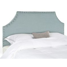 A stylized notched crown with a contemporary spin makes the Denham queen headboard in sky blue a glamorous finishing touch for any bedroom. Padded for comfort and wrapped in a linen texture its silver nailhead trim gives it a custom designer look.