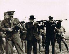 Major General Edward Brooks (behind Eisenhower) demonstrating M1 Carbines to Dwight Eisenhower, Winston Churchill, and Omar Bradley, England, United Kingdom, 15 May 1944, photo 1 of 2 | World War II Database
