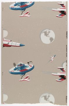 Rockets, moon & space stations. Wallpaper c. 1950