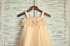 Thin Straps Pearl Champagne Tulle Flower Girl Dress by misdress
