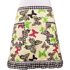 Cute Green Butterfly Waist Apron Server Apron with 2 Pockets Commercial Restaurant Waitress Waiter for Girl Woman Half Bistro Aprons