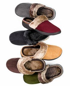Isotoner Slipper, Woodlands Microsuede Clog with Faux Fur - Slippers - Shoes - Macy's - size 8