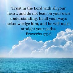Trust in the Lord with all your heart, and do not lean on your own understanding. In all your ways acknowledge him, and he will make straight your paths. Proverbs 3:5-6