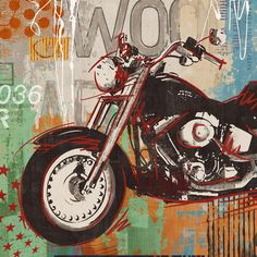 Motorcycle automobile canvas wall art home decoration painting the living room office picture Cafe Bar free shipping