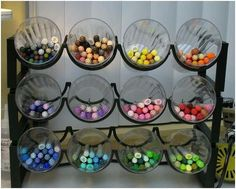 wine rack & tumblers/ craft room organizing :) another idea for colored pencils / colors / markers
