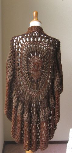 CROCHET PONCHO SHAWL Brown Fashion Boho Circle Vest by marianavail, $87.00