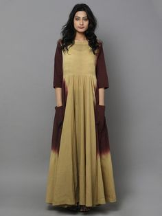 Green Brown Tie and Dye Cotton Dress Kurta Designs, Indian Attire, Indian Outfits, African Fashion, Indian Fashion, Cotton Kurties, Maxi Skirt Black, Elegant Saree, Cotton Dresses