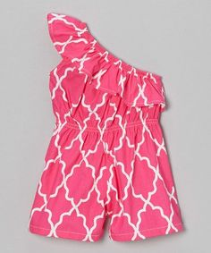 Take a look at this Pink Splish Splash Asymmetrical Romper - Toddler & Girls by Waistin' Away on #zulily today!