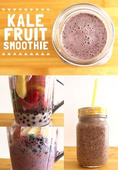Kale Fruit Smoothie- Perfect breakfast option for rushed mornings filled with fruits, dairy, and a green!-Growing Up Blackxcian Peach Smoothie Recipes, Nutritious Smoothies, Breakfast Smoothie Recipes, Strawberry Smoothie, Freshly Squeezed Orange Juice, Frozen Strawberries, Perfect Breakfast, Mornings