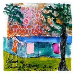"""Saatchi Art Artist Birgit  Nagengast; Drawing, """"Dancing Towels"""" #art"""