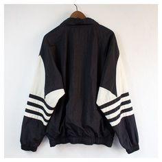 Vintage 90's Adidas Black Pullover Windbreaker Large ❤ liked on Polyvore featuring adidas