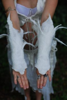 Felt Fairy Snow Queen Icicle Arm Warmers by frixiegirl on Etsy
