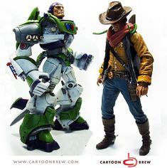 "Toy Story Unleashed - Buzz Lightyear and Sheriff Woody as you haven't seen them before. Reimagined as action figure ""badasses"" by designer Luis Eduardo Vargas Montoya."