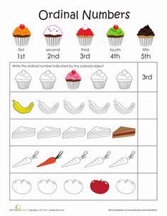 Kindergarten Counting & Numbers Worksheets: Teaching Ordinal Numbers