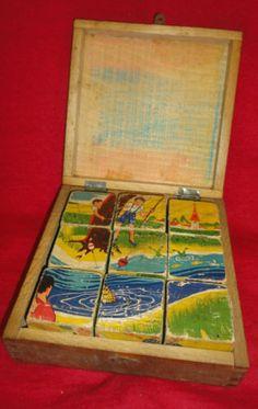 Ancien 1940 50 Marque G M Paris Coffret Jouet Jeux Cubes Bois , j'en ai encore une boîte avec Kiri le clown